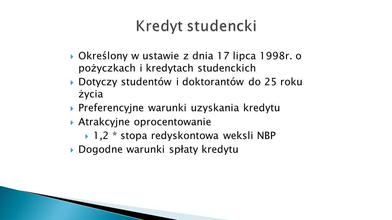 Kredyt studencki Określony w ustawie z dnia 17 lipca 1998r. o pożyczkach i kredytach studenckich. Dotyczy studentów i doktorantów do 25 roku życia.