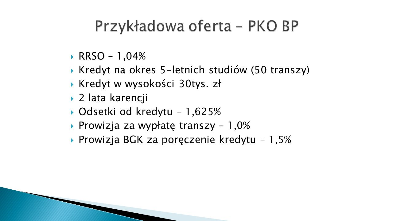 Przykładowa oferta – PKO BP