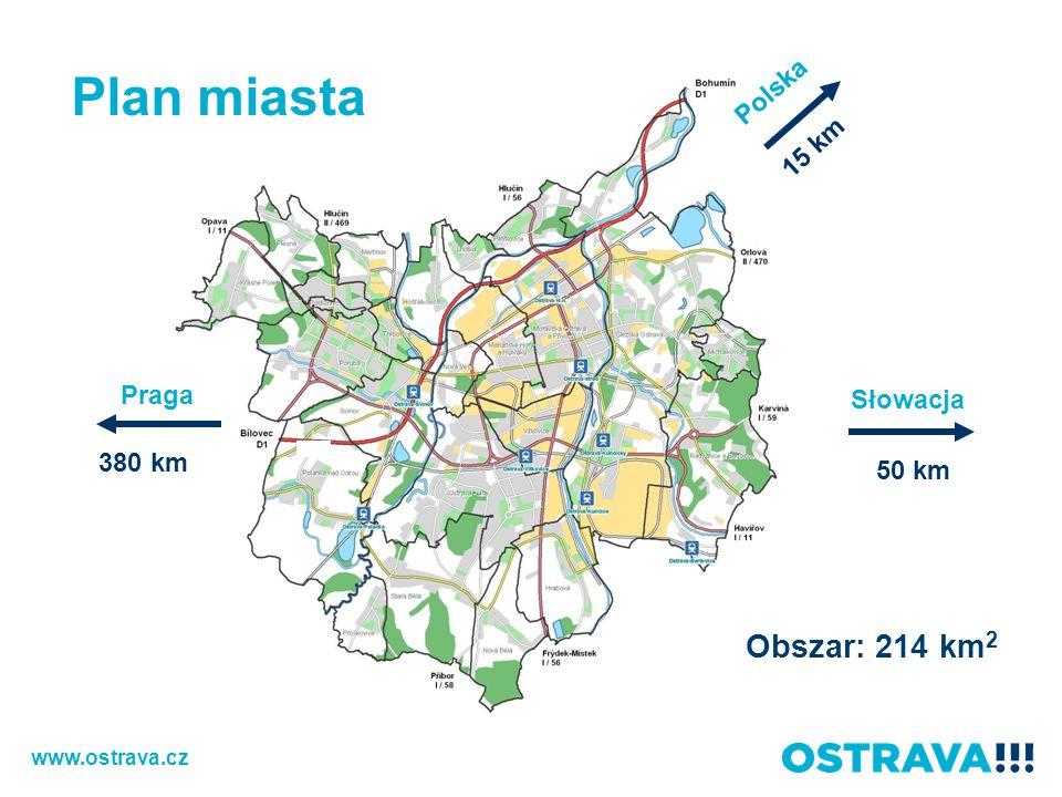 Plan miasta Obszar: 214 km2 Polska 15 km Praga Słowacja 380 km 50 km