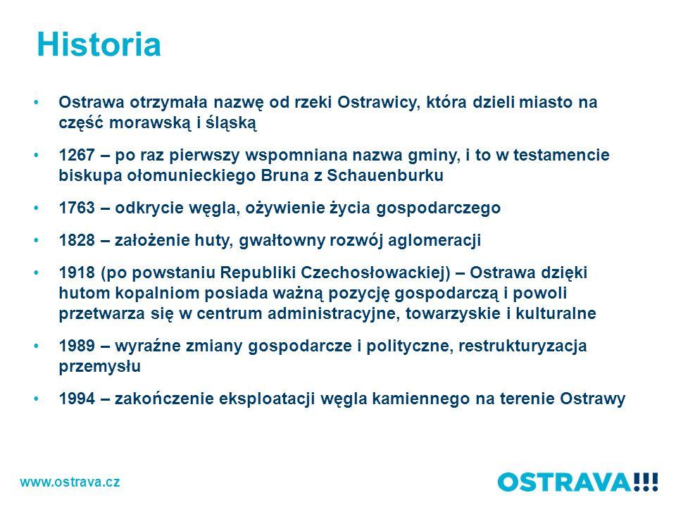 Historia Ostrawa otrzymała nazwę od rzeki Ostrawicy, która dzieli miasto na część morawską i śląską.