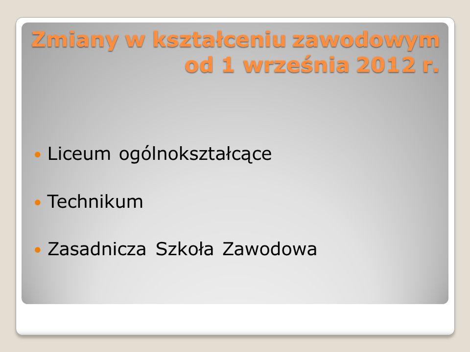 Zmiany w kształceniu zawodowym od 1 września 2012 r.