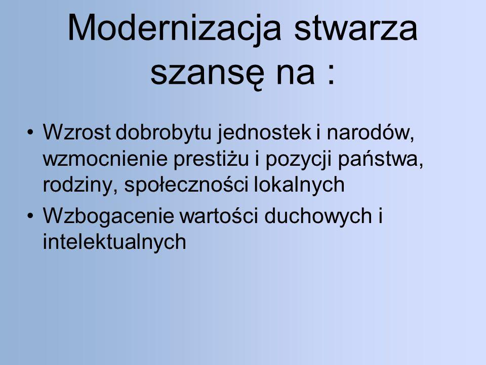 Modernizacja stwarza szansę na :