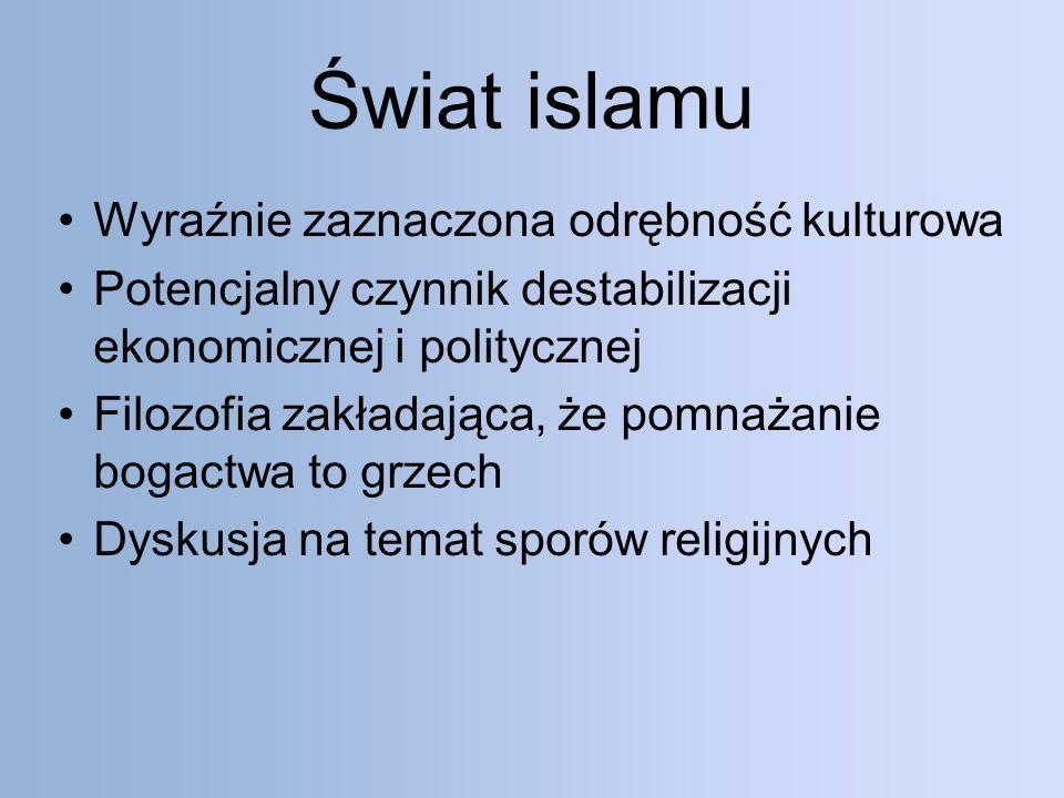 Świat islamu Wyraźnie zaznaczona odrębność kulturowa
