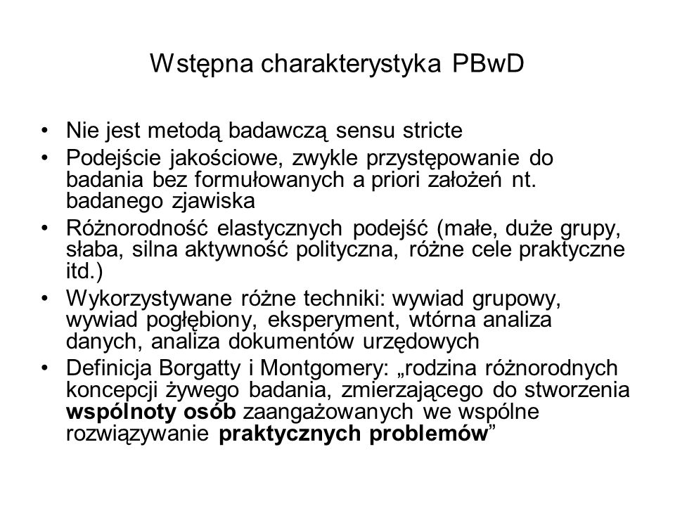 Wstępna charakterystyka PBwD