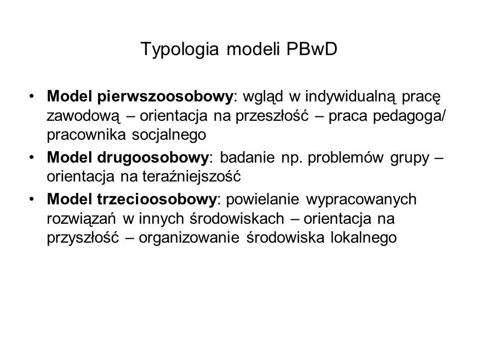 Typologia modeli PBwD Model pierwszoosobowy: wgląd w indywidualną pracę zawodową – orientacja na przeszłość – praca pedagoga/ pracownika socjalnego.