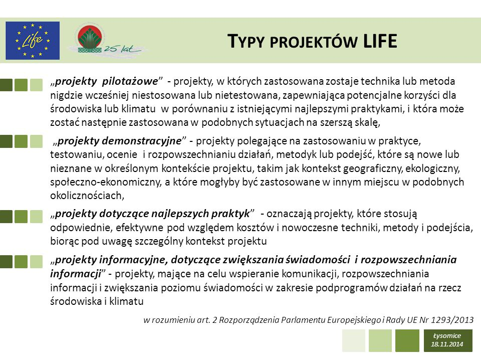 Typy projektów LIFE