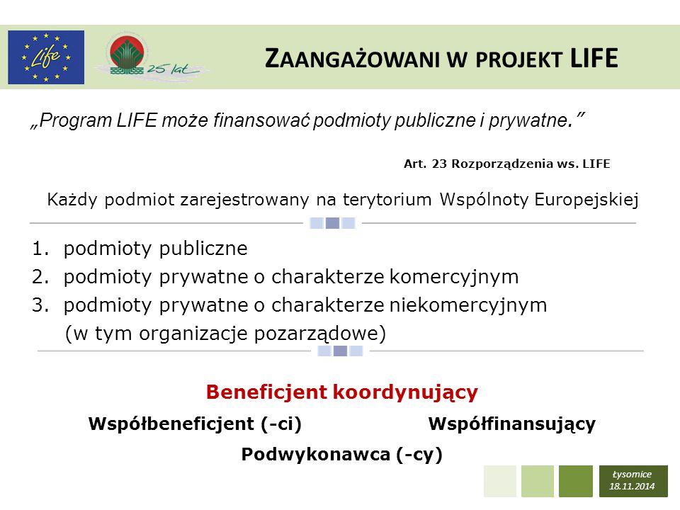 Zaangażowani w projekt LIFE Beneficjent koordynujący