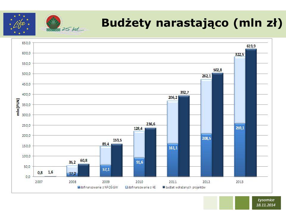 Budżety narastająco (mln zł)