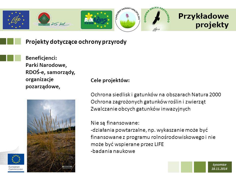 Przykładowe projekty Projekty dotyczące ochrony przyrody Beneficjenci: