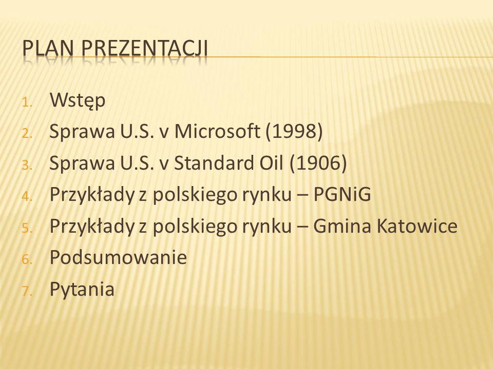 Plan prezentacji Wstęp Sprawa U.S. v Microsoft (1998)