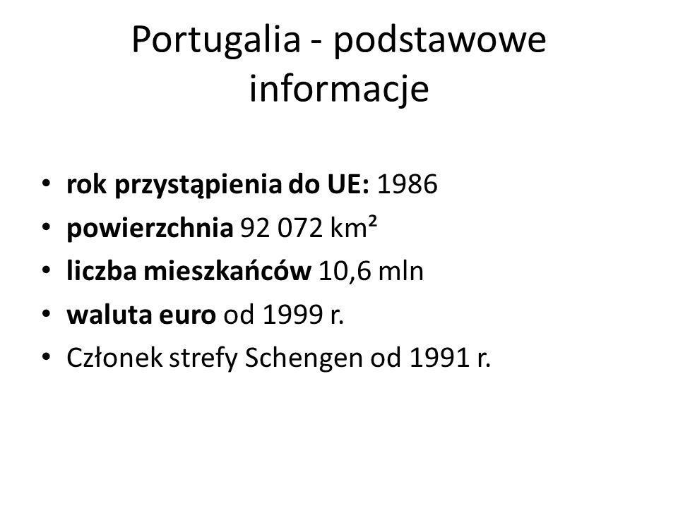 Portugalia - podstawowe informacje
