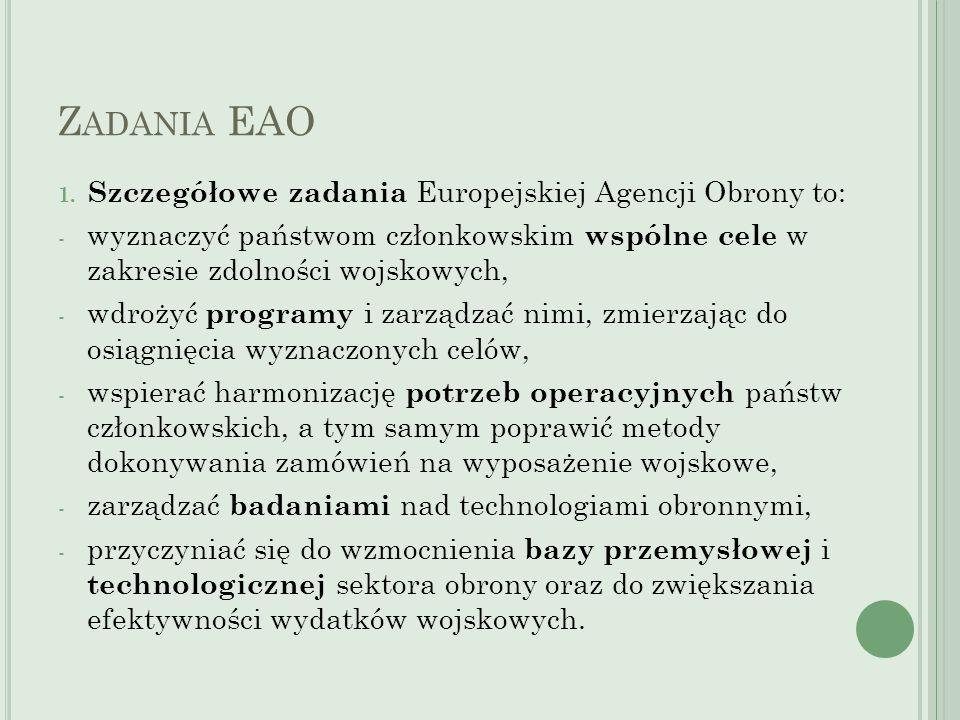 Zadania EAO Szczegółowe zadania Europejskiej Agencji Obrony to: