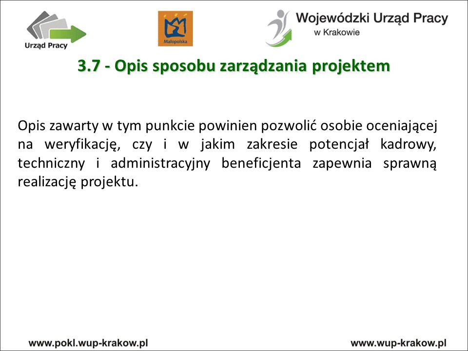 3.7 - Opis sposobu zarządzania projektem