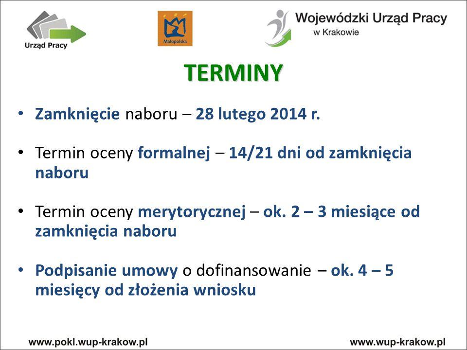 TERMINY Zamknięcie naboru – 28 lutego 2014 r.