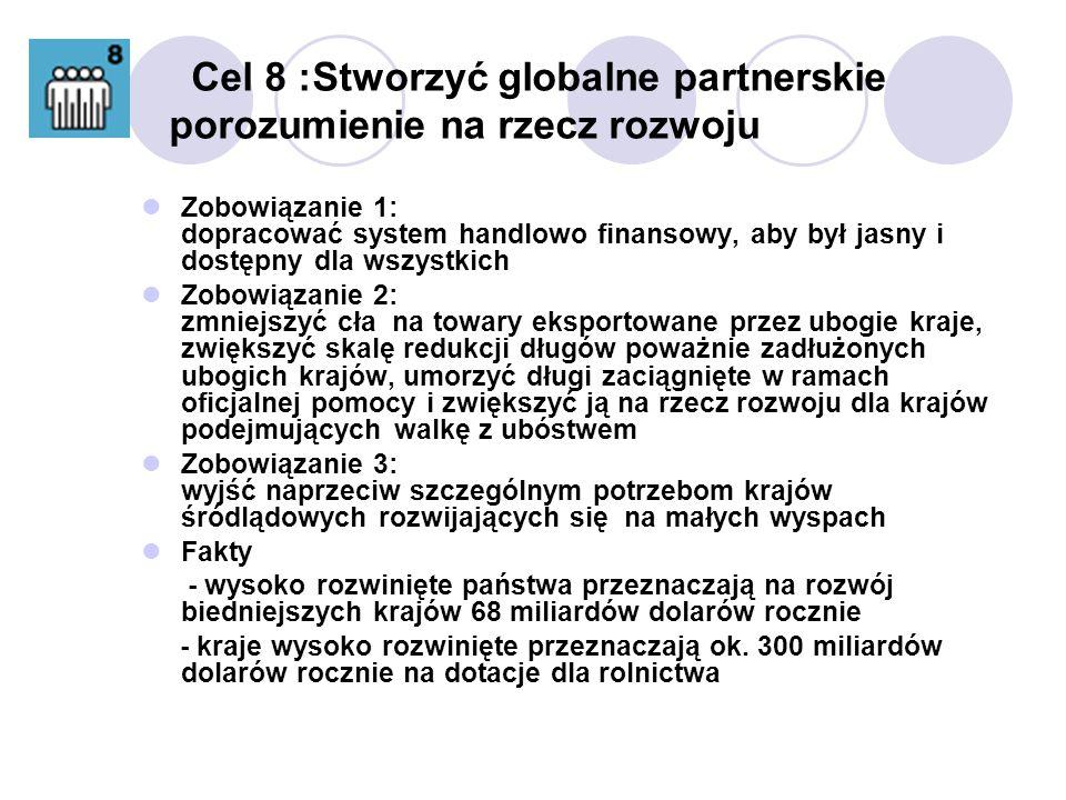 Cel 8 :Stworzyć globalne partnerskie porozumienie na rzecz rozwoju