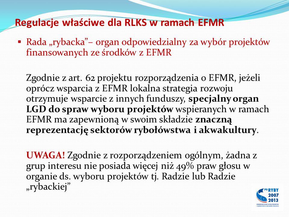 Regulacje właściwe dla RLKS w ramach EFMR