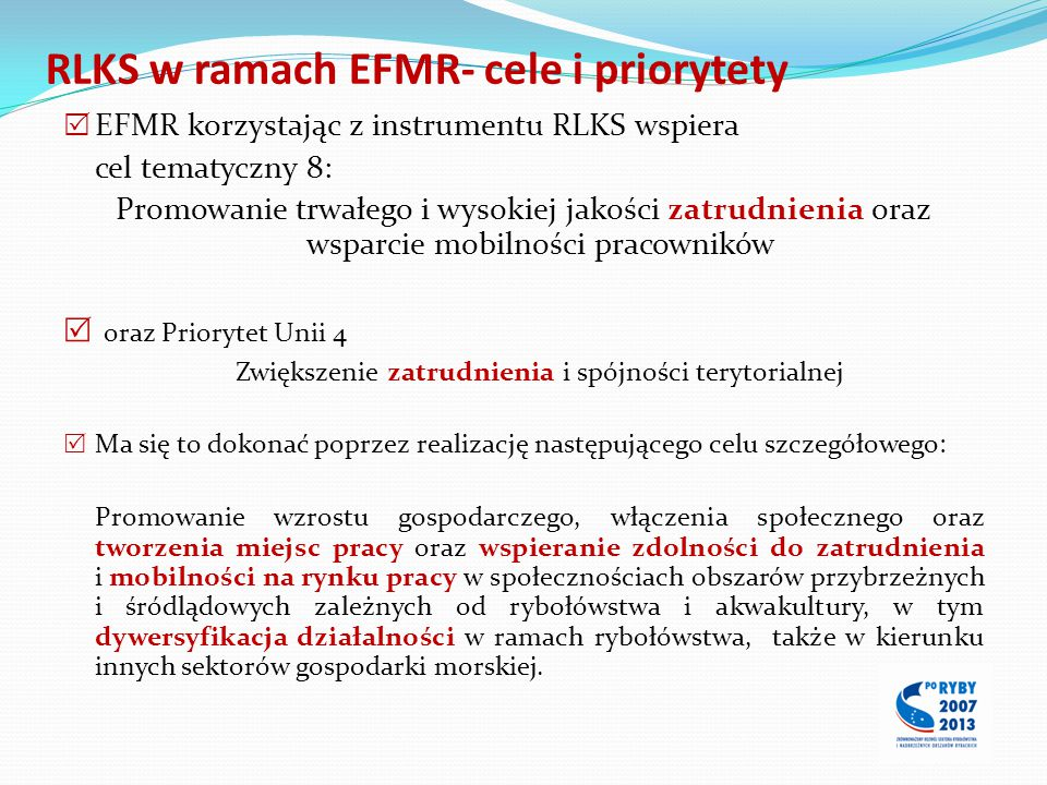 RLKS w ramach EFMR- cele i priorytety