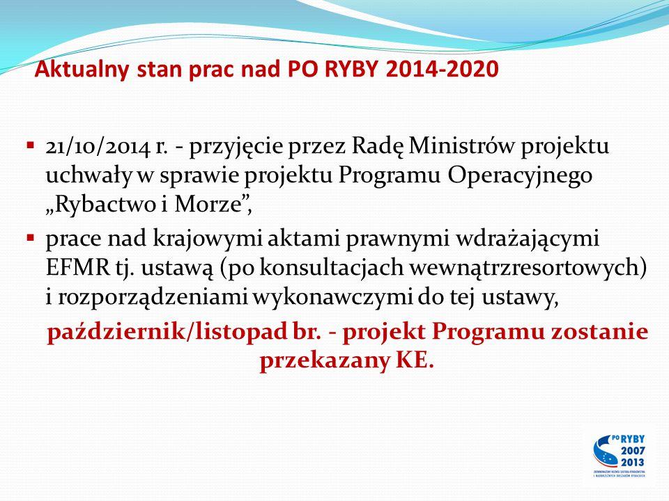Aktualny stan prac nad PO RYBY 2014-2020