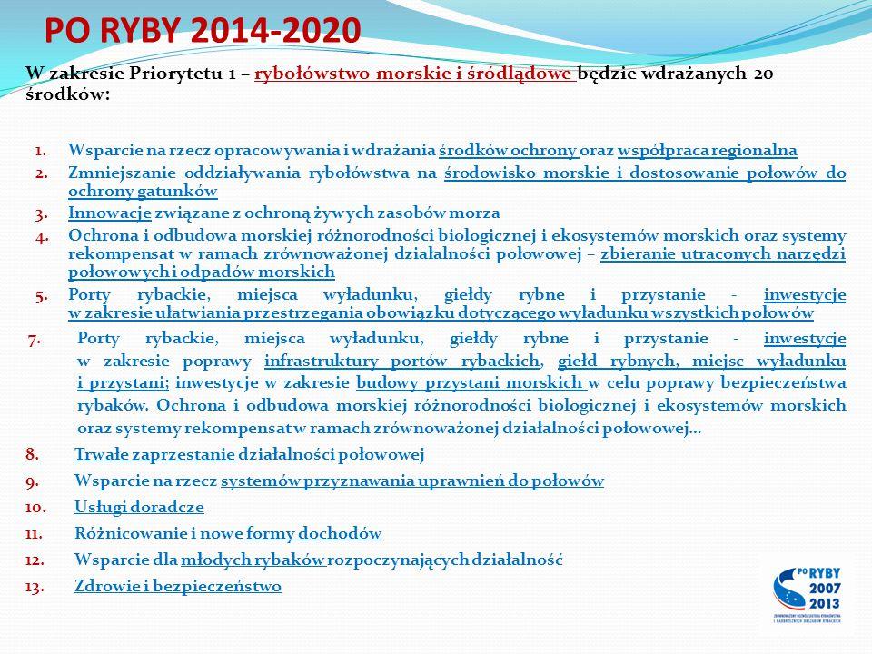 PO RYBY 2014-2020 W zakresie Priorytetu 1 – rybołówstwo morskie i śródlądowe będzie wdrażanych 20 środków: