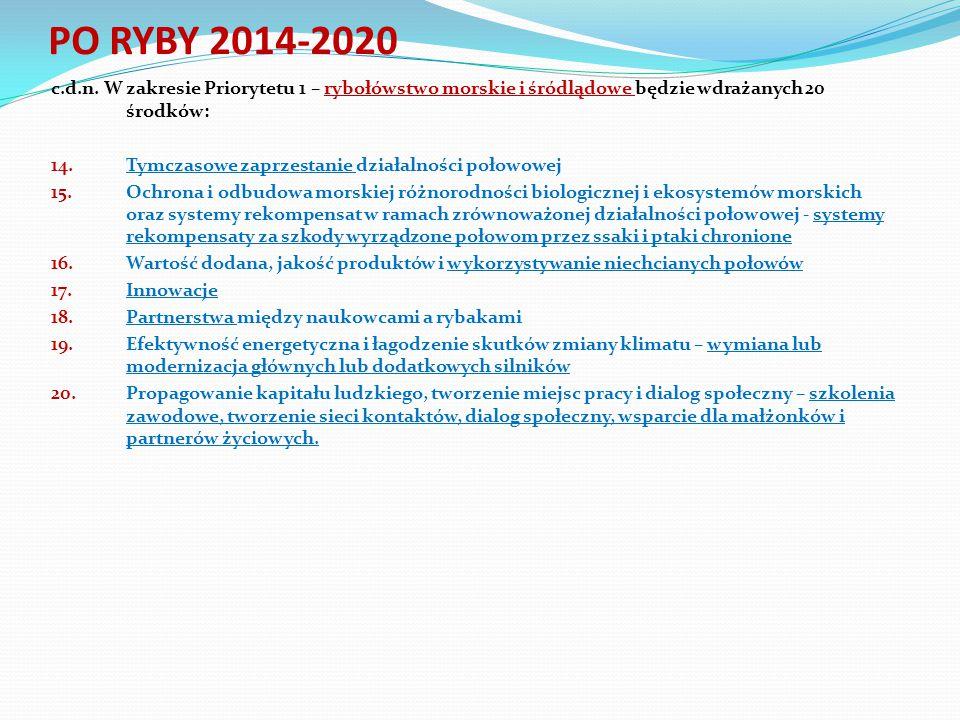 PO RYBY 2014-2020 c.d.n. W zakresie Priorytetu 1 – rybołówstwo morskie i śródlądowe będzie wdrażanych 20 środków: