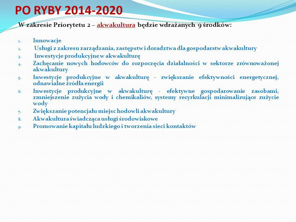 PO RYBY 2014-2020 W zakresie Priorytetu 2 – akwakultura będzie wdrażanych 9 środków: Innowacje.