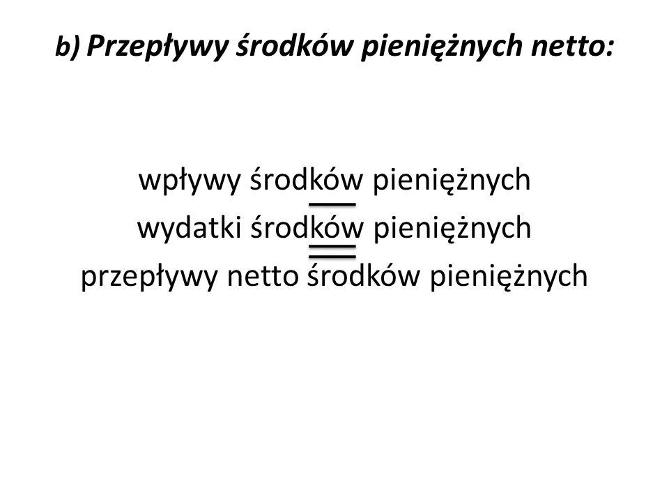 b) Przepływy środków pieniężnych netto: