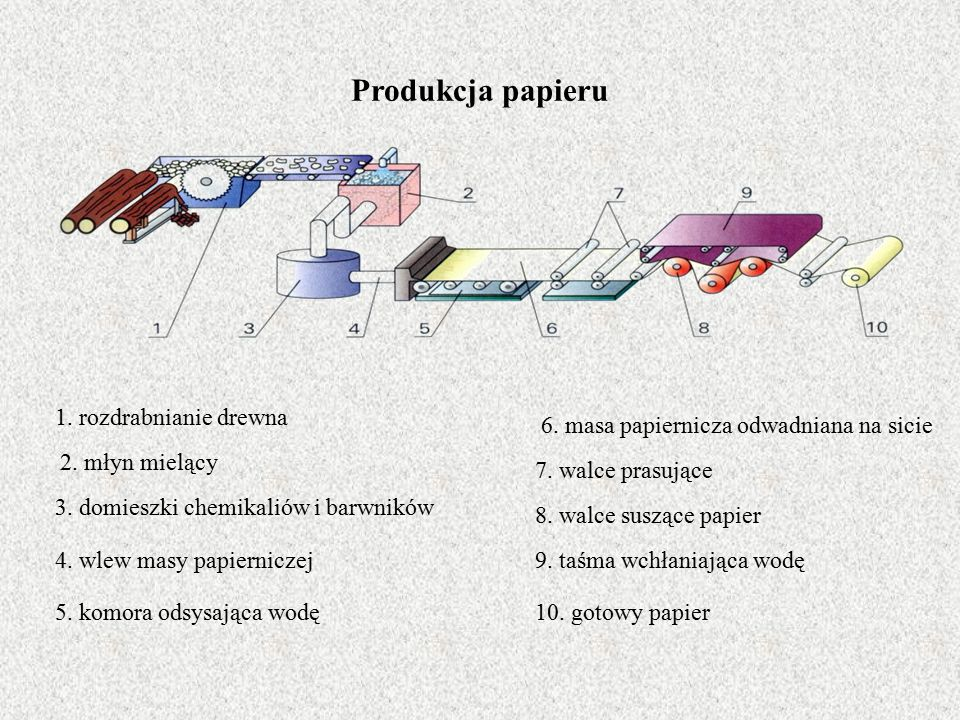 Produkcja papieru 1. rozdrabnianie drewna