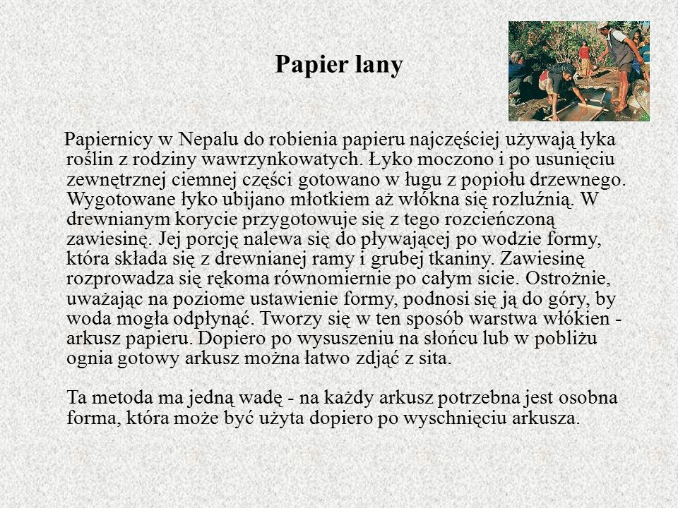 Papier lany