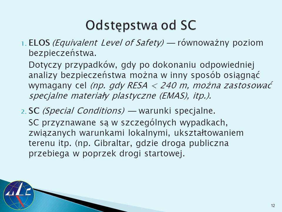 Odstępstwa od SC ELOS (Equivalent Level of Safety) ─ równoważny poziom bezpieczeństwa.