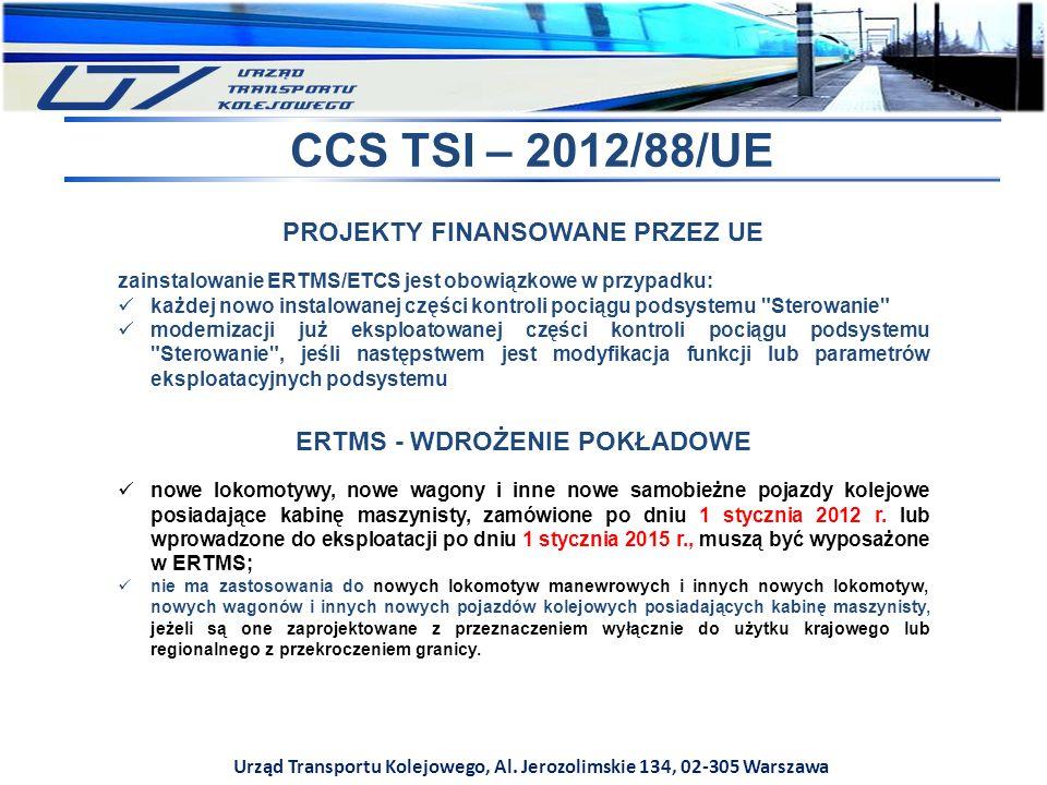 CCS TSI – 2012/88/UE PROJEKTY FINANSOWANE PRZEZ UE
