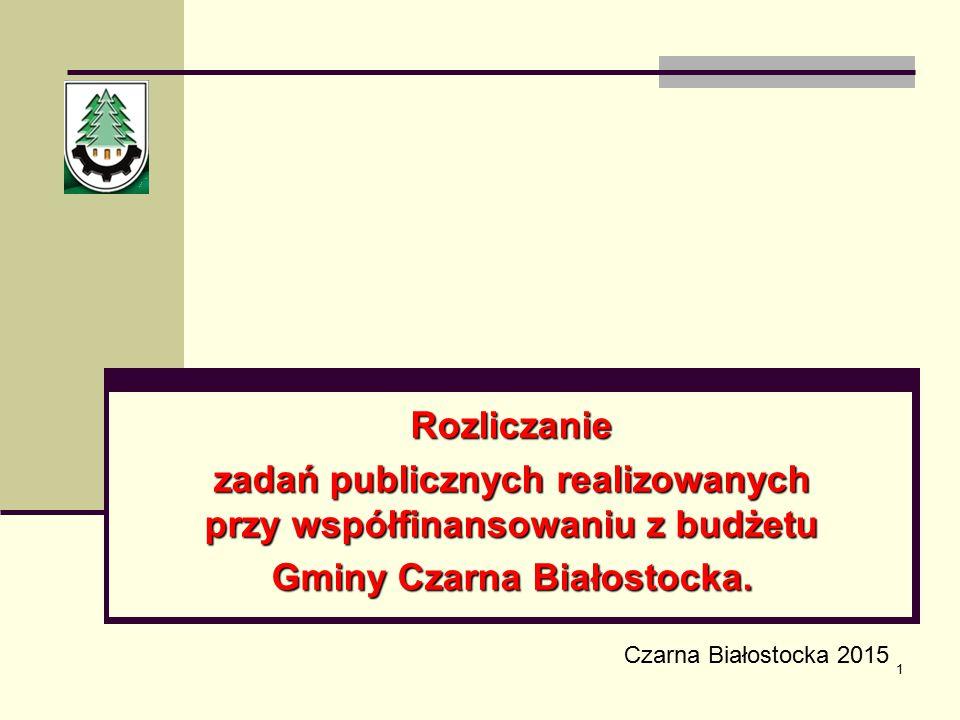 zadań publicznych realizowanych przy współfinansowaniu z budżetu