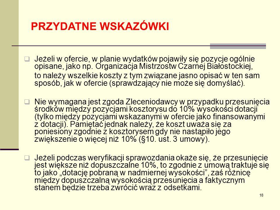 PRZYDATNE WSKAZÓWKI Jeżeli w ofercie, w planie wydatków pojawiły się pozycje ogólnie opisane, jako np. Organizacja Mistrzostw Czarnej Białostockiej,