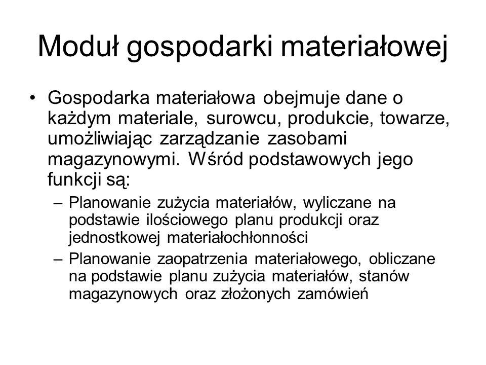 Moduł gospodarki materiałowej