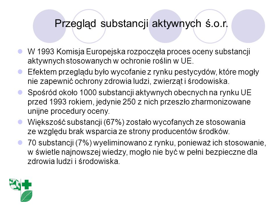 Przegląd substancji aktywnych ś.o.r.