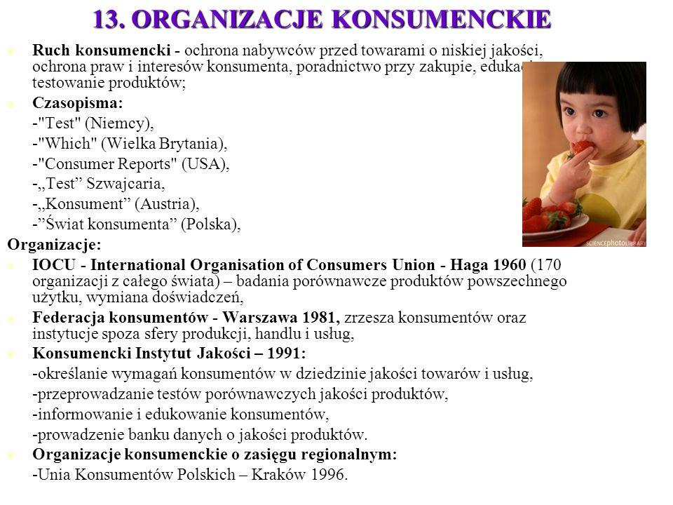 13. ORGANIZACJE KONSUMENCKIE