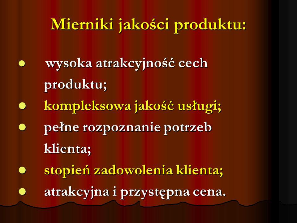 Mierniki jakości produktu: