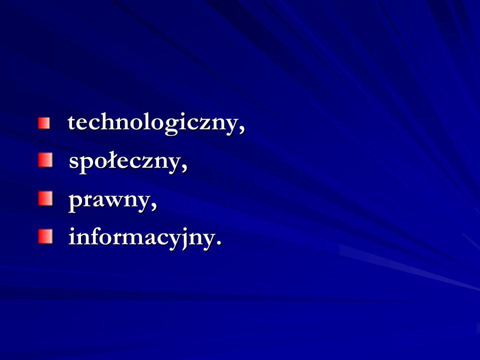 technologiczny, społeczny, prawny, informacyjny.