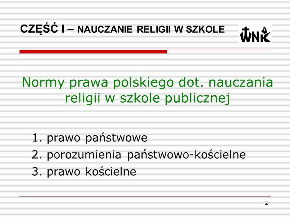 Normy prawa polskiego dot. nauczania religii w szkole publicznej
