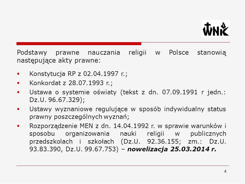 Podstawy prawne nauczania religii w Polsce stanowią następujące akty prawne: