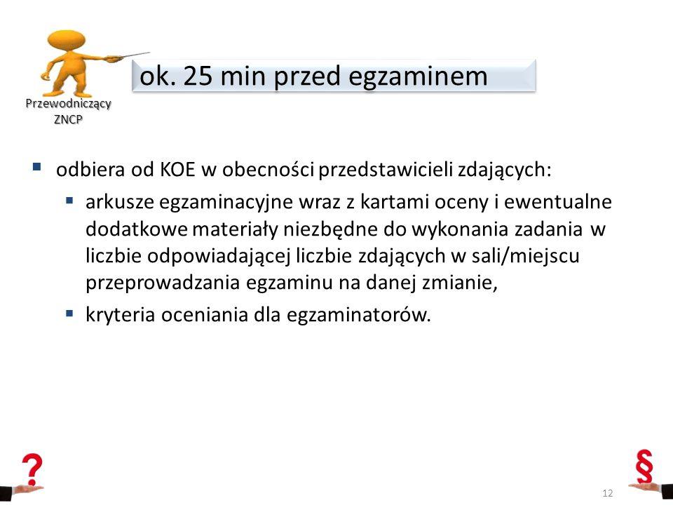 Przewodniczący ZNCP ok. 25 min przed egzaminem. odbiera od KOE w obecności przedstawicieli zdających: