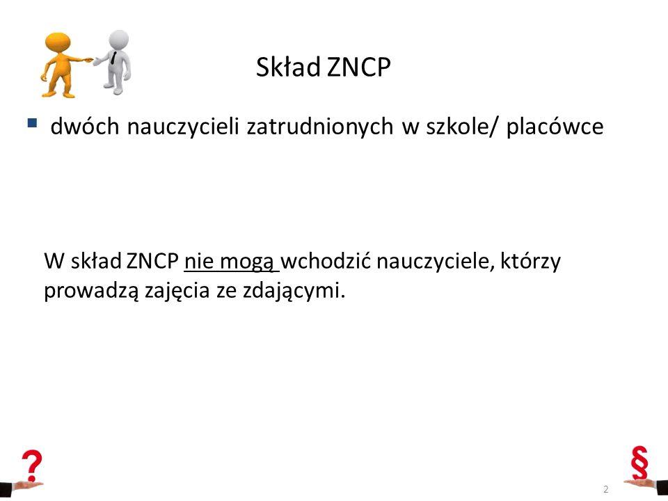 Skład ZNCP dwóch nauczycieli zatrudnionych w szkole/ placówce