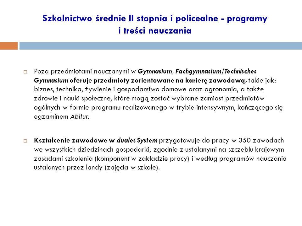 Szkolnictwo średnie II stopnia i policealne - programy i treści nauczania