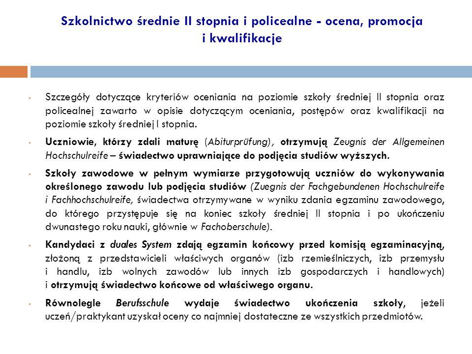 Szkolnictwo średnie II stopnia i policealne - ocena, promocja i kwalifikacje