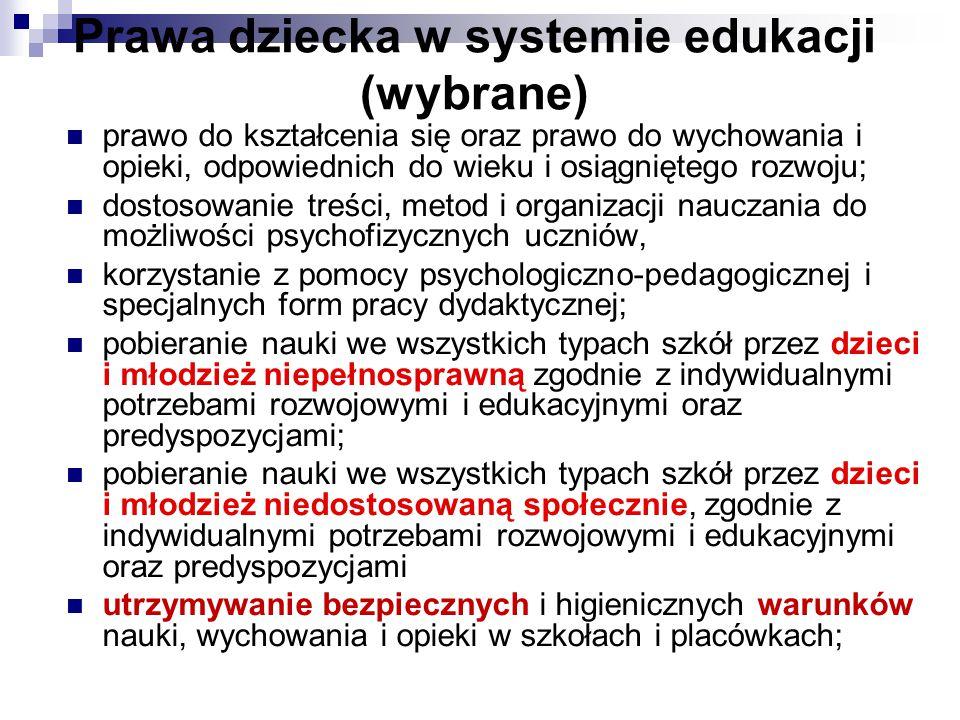 Prawa dziecka w systemie edukacji (wybrane)