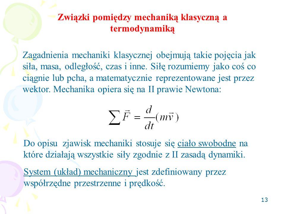 Związki pomiędzy mechaniką klasyczną a termodynamiką