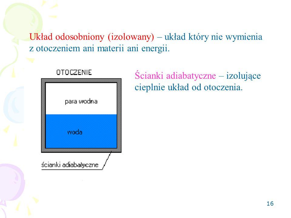 Układ odosobniony (izolowany) – układ który nie wymienia z otoczeniem ani materii ani energii.