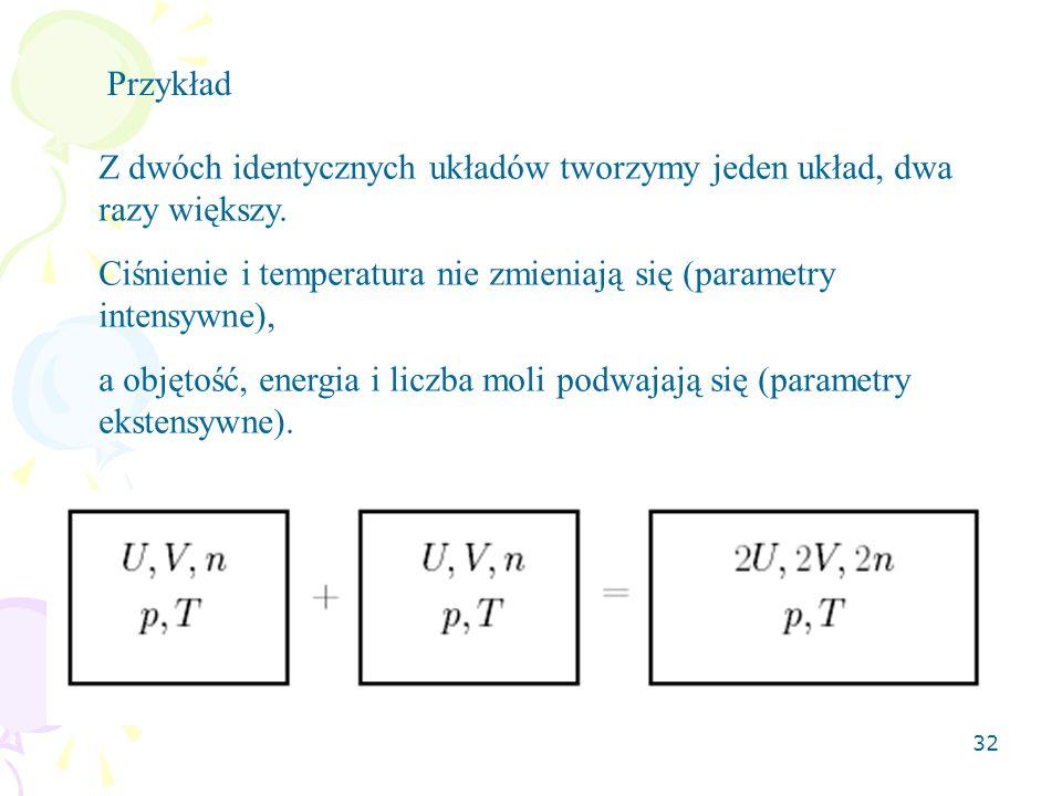 Przykład Z dwóch identycznych układów tworzymy jeden układ, dwa razy większy. Ciśnienie i temperatura nie zmieniają się (parametry intensywne),