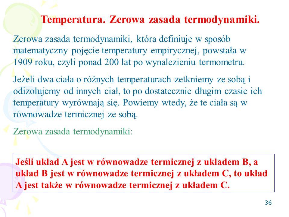 Temperatura. Zerowa zasada termodynamiki.