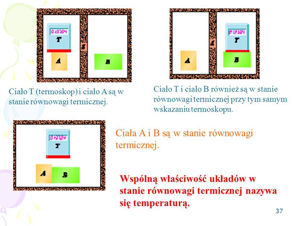 Ciała A i B są w stanie równowagi termicznej.