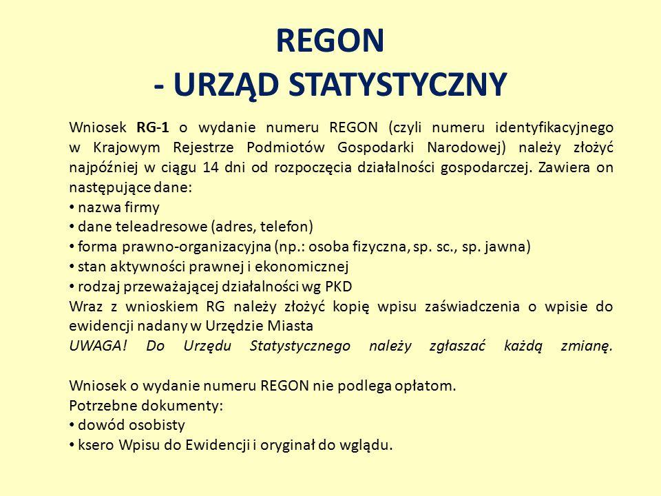 REGON - URZĄD STATYSTYCZNY